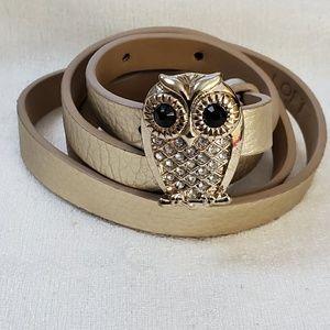LOFT Owl Rhinestone Critter Skinny Belt M #1319